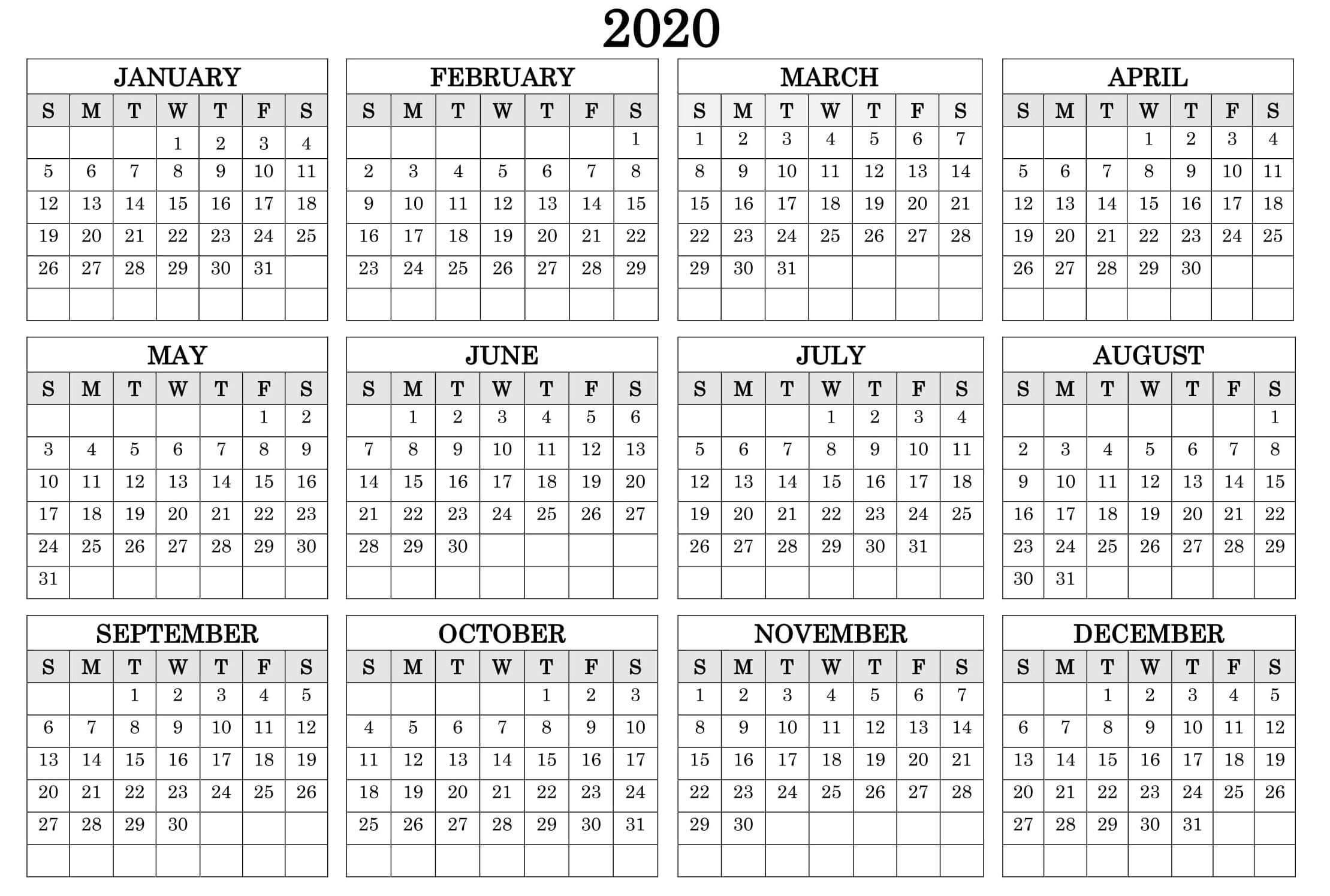 Yearly 2020 Calendar - Free 12 Month 2020 Calendar Printable 1