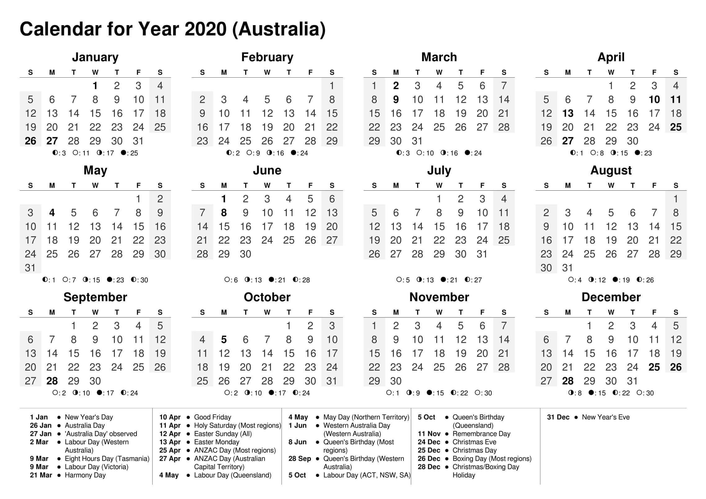 2020 Yearly Calendar Excel Australia