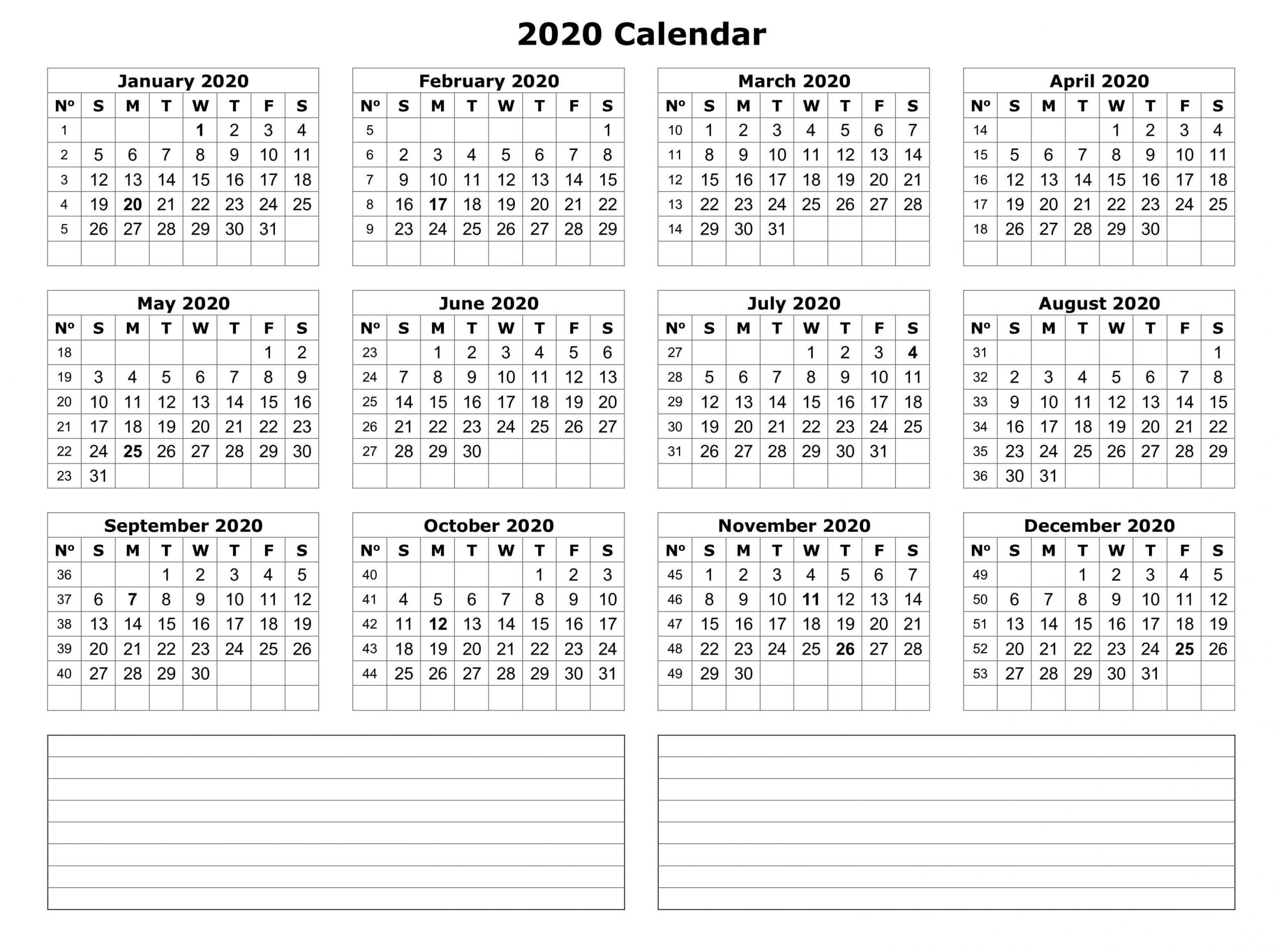 2020 Yearly Calendar Template With Notes