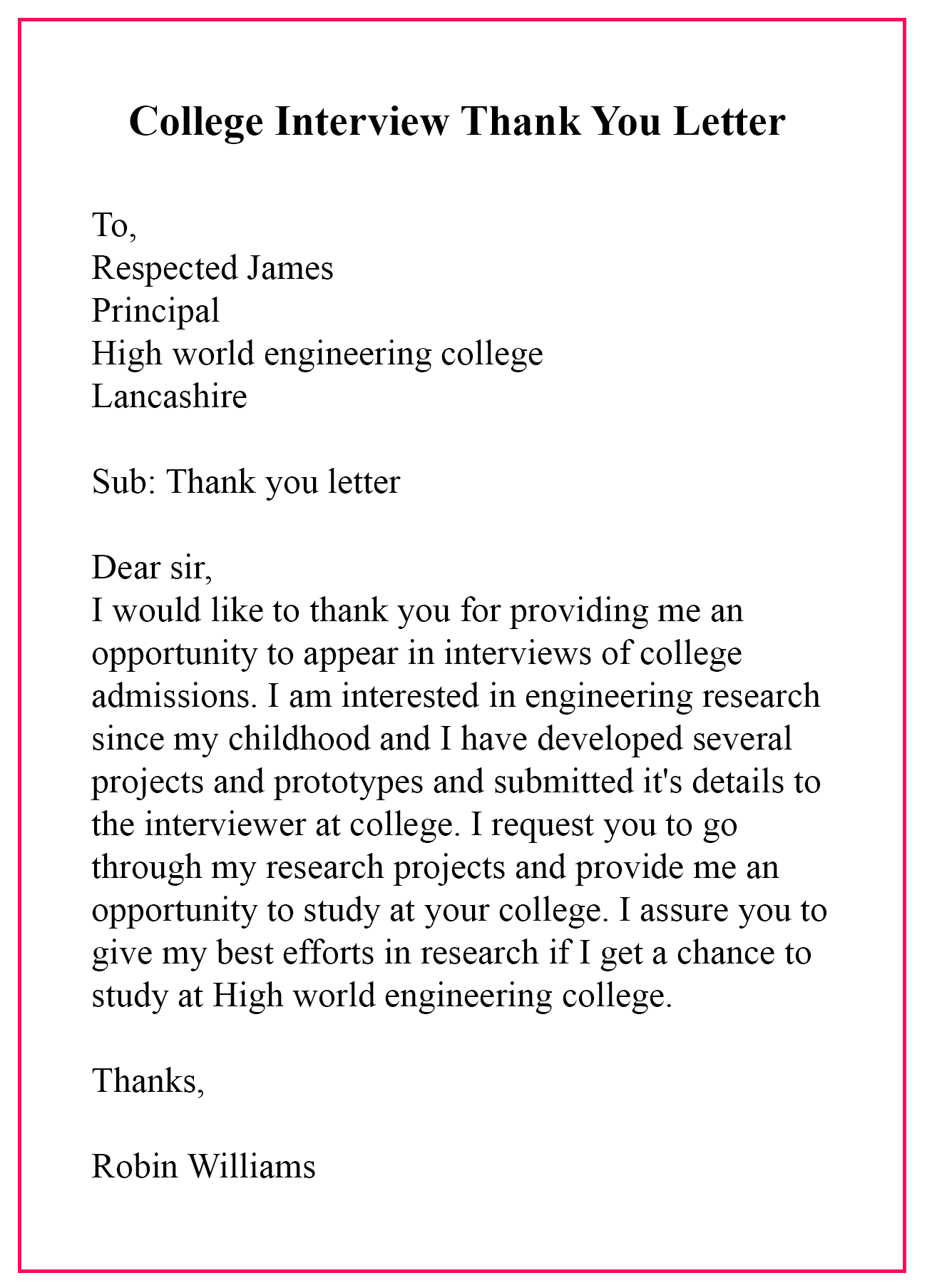 College Interview Thank You Letter