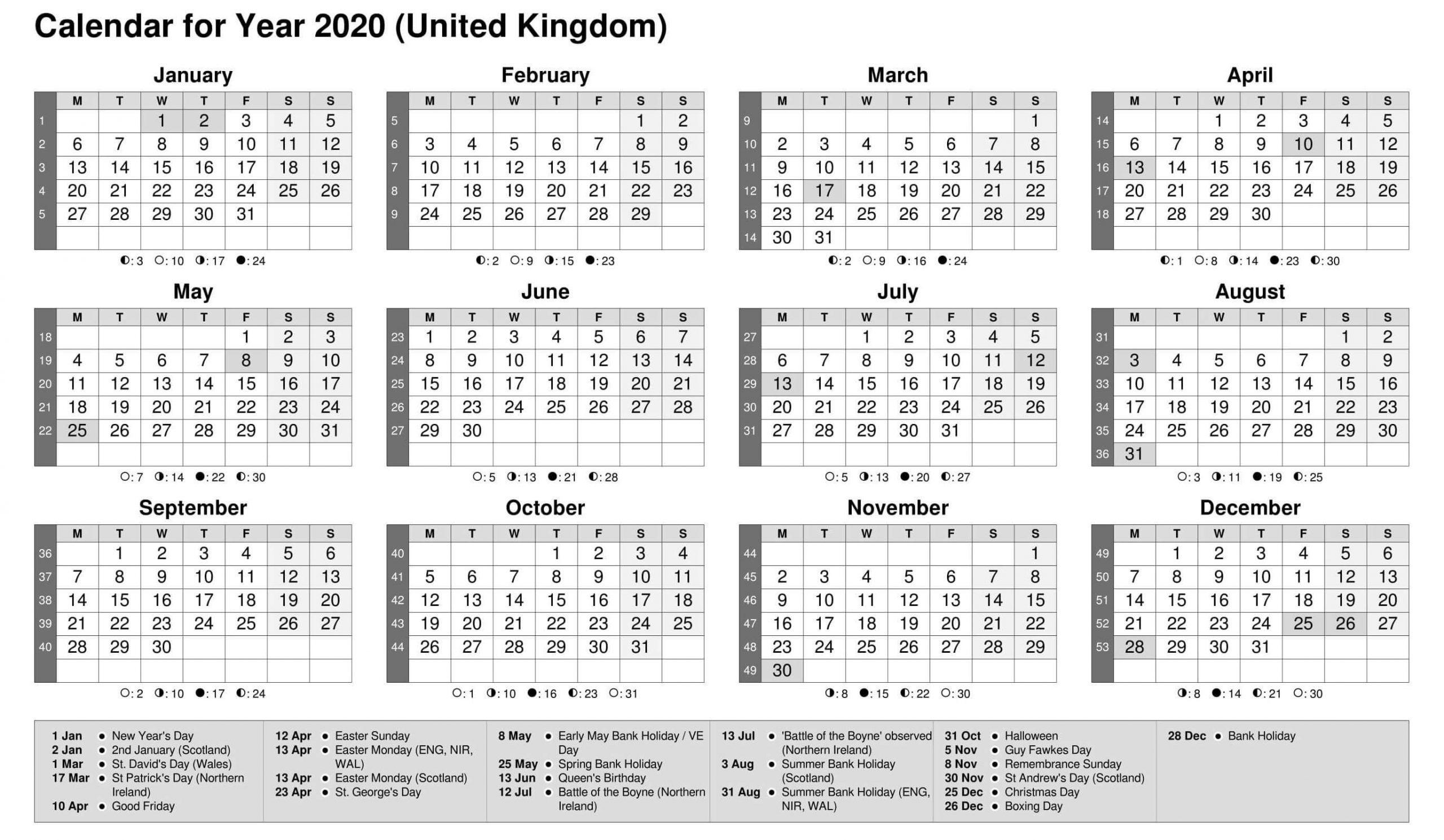 Fiscal Year 2020 Calendar UK
