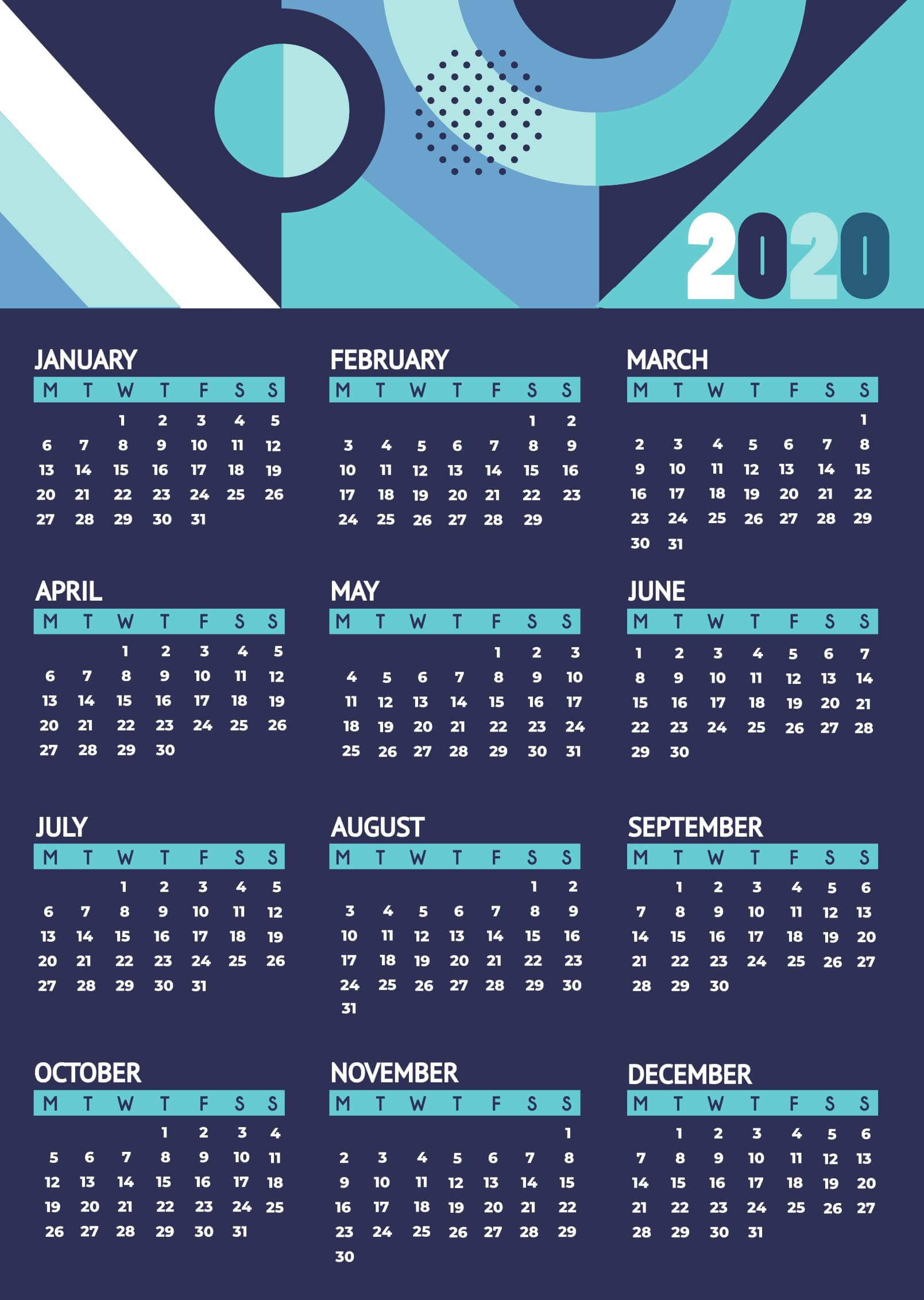 Free Cute Printable Yearly Calendar 2020