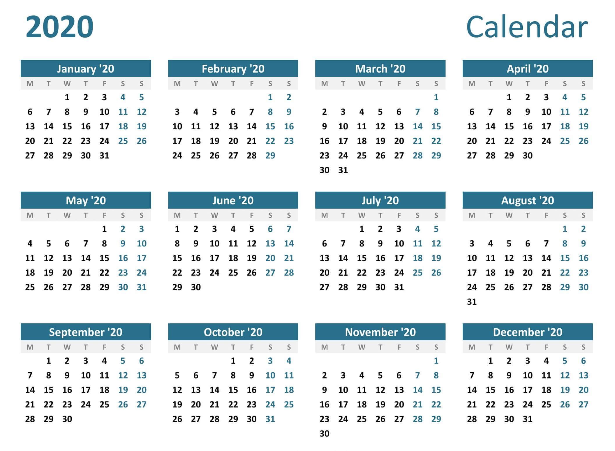 Full Year Calendar 2020 Excel