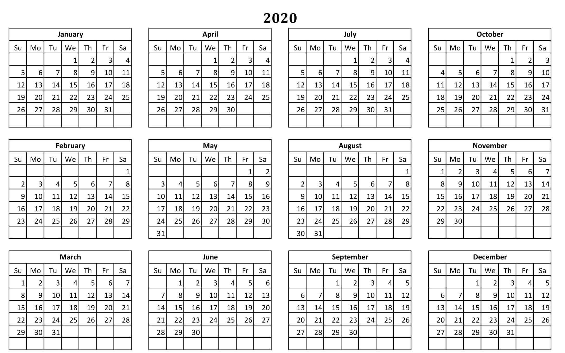 Printable Yearly Calendar 2020