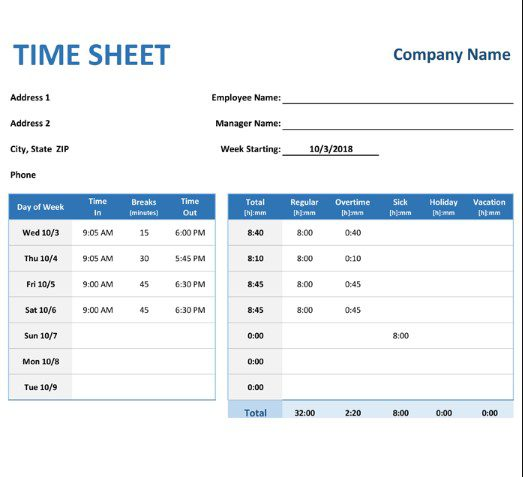 Timesheet Template in Excel, PDF, Word & Google Docs