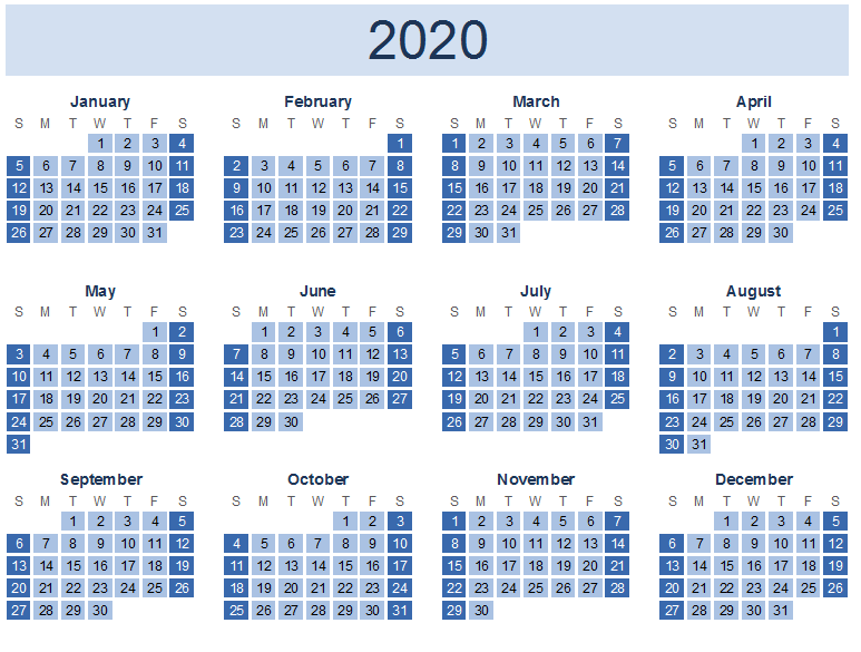 Year Calendar 2020 Print OutYear Calendar 2020 Print Out