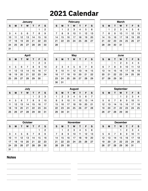 2021 Calendar One Page With Notes