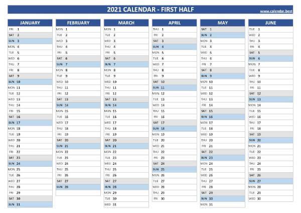 2021 half year calendar