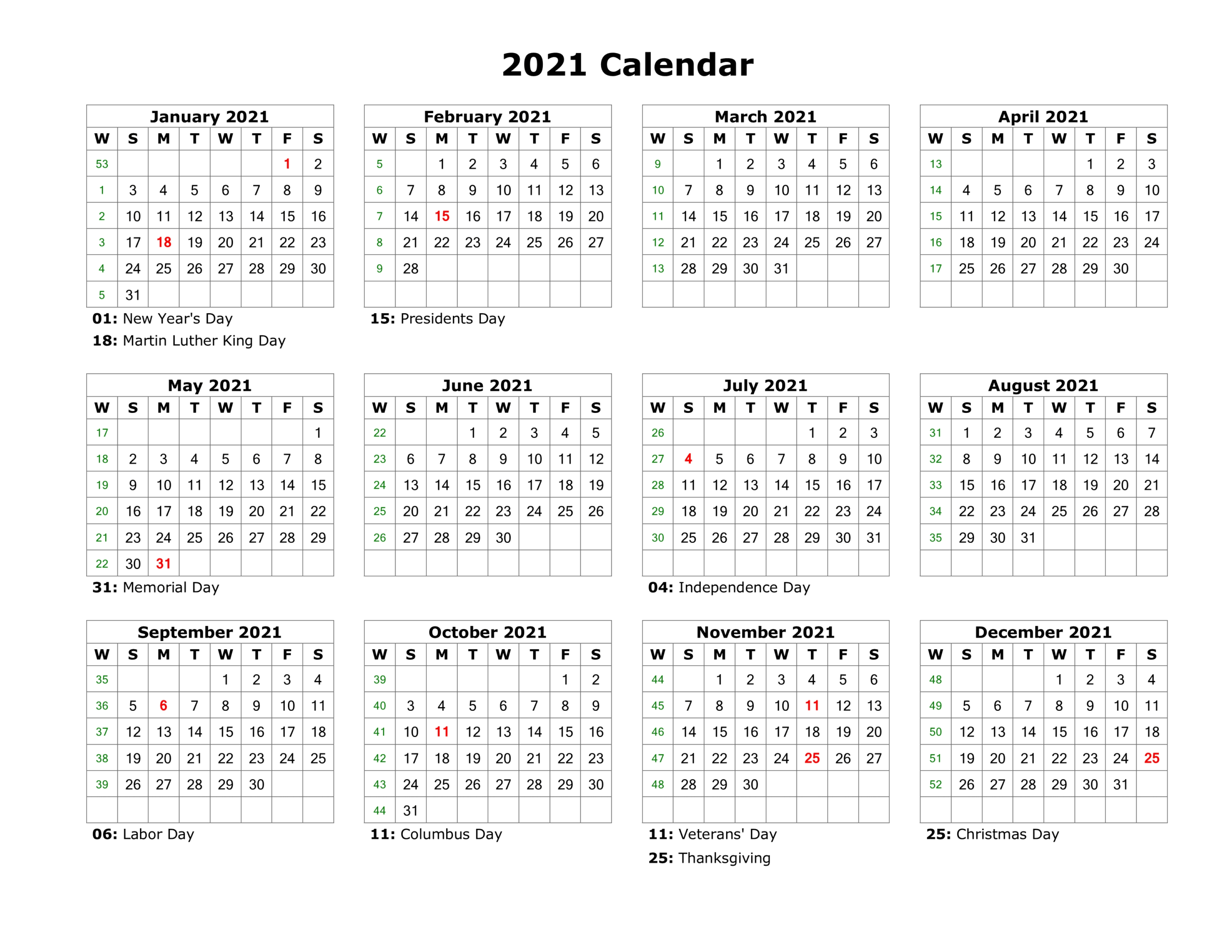 Free 2021 Year Calendar Printable Download January To December