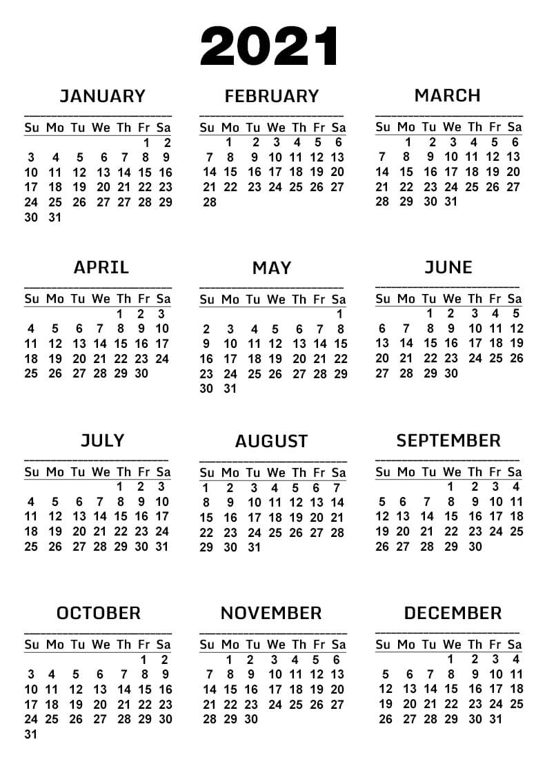 Free Yearly Printable 2021 Calendar One Page
