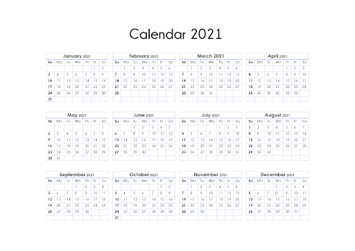 Printable One Page Calendars for 2021