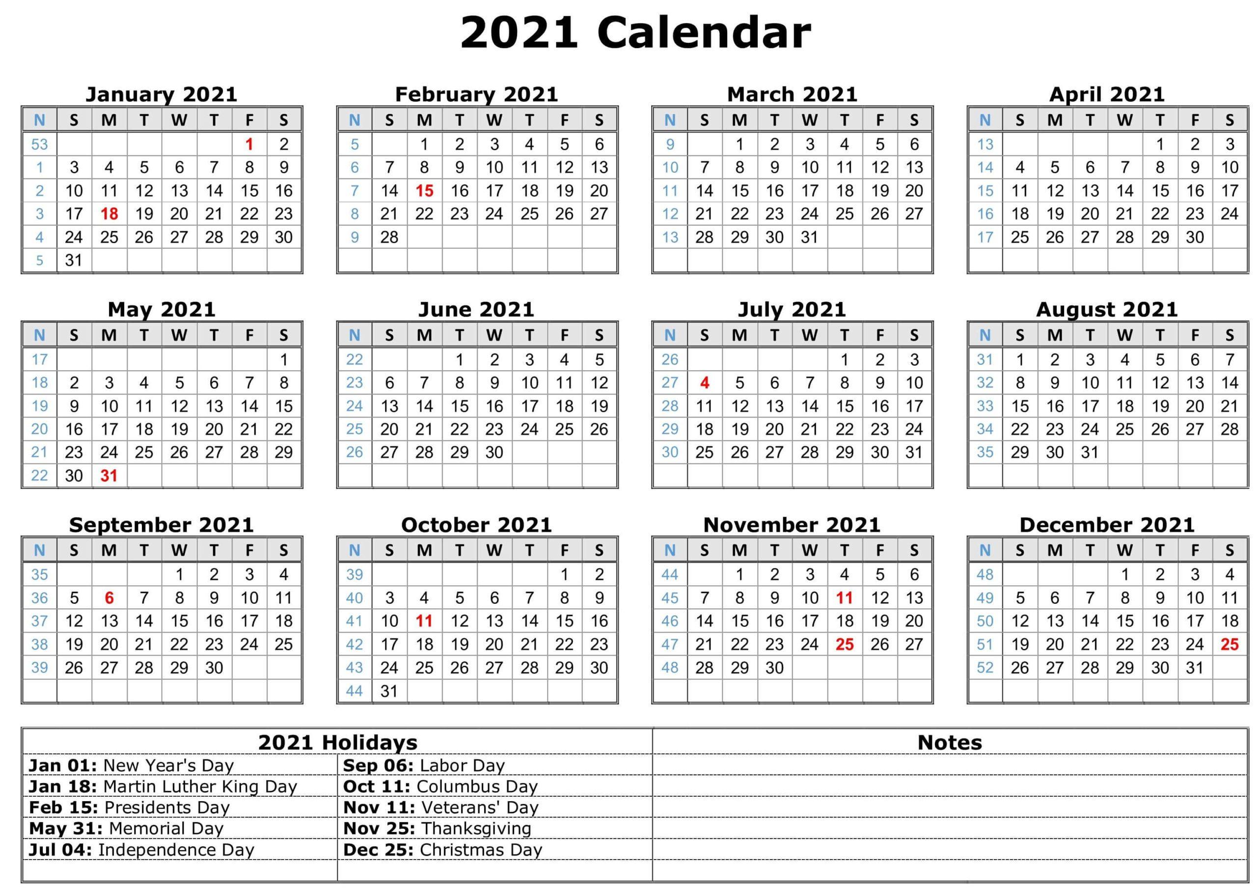 free printable printable pdf 2021 calendar