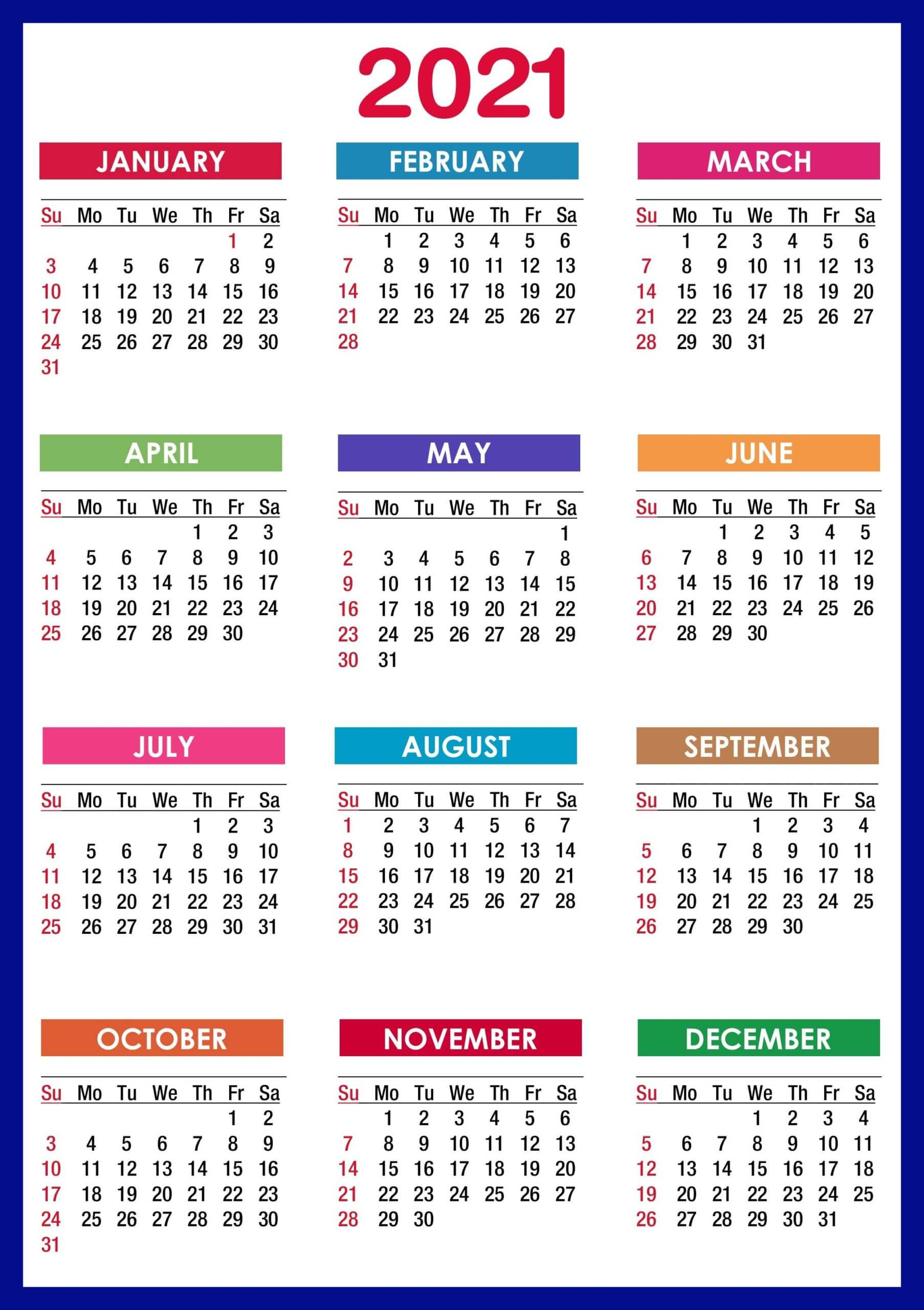 printable yearly calendar 2021 (12 Month Portrait Template)
