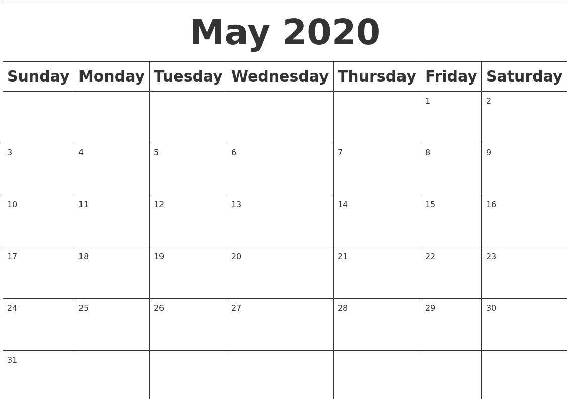 Calendar 2020 May 2020