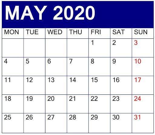 Calendar of May 2020 month