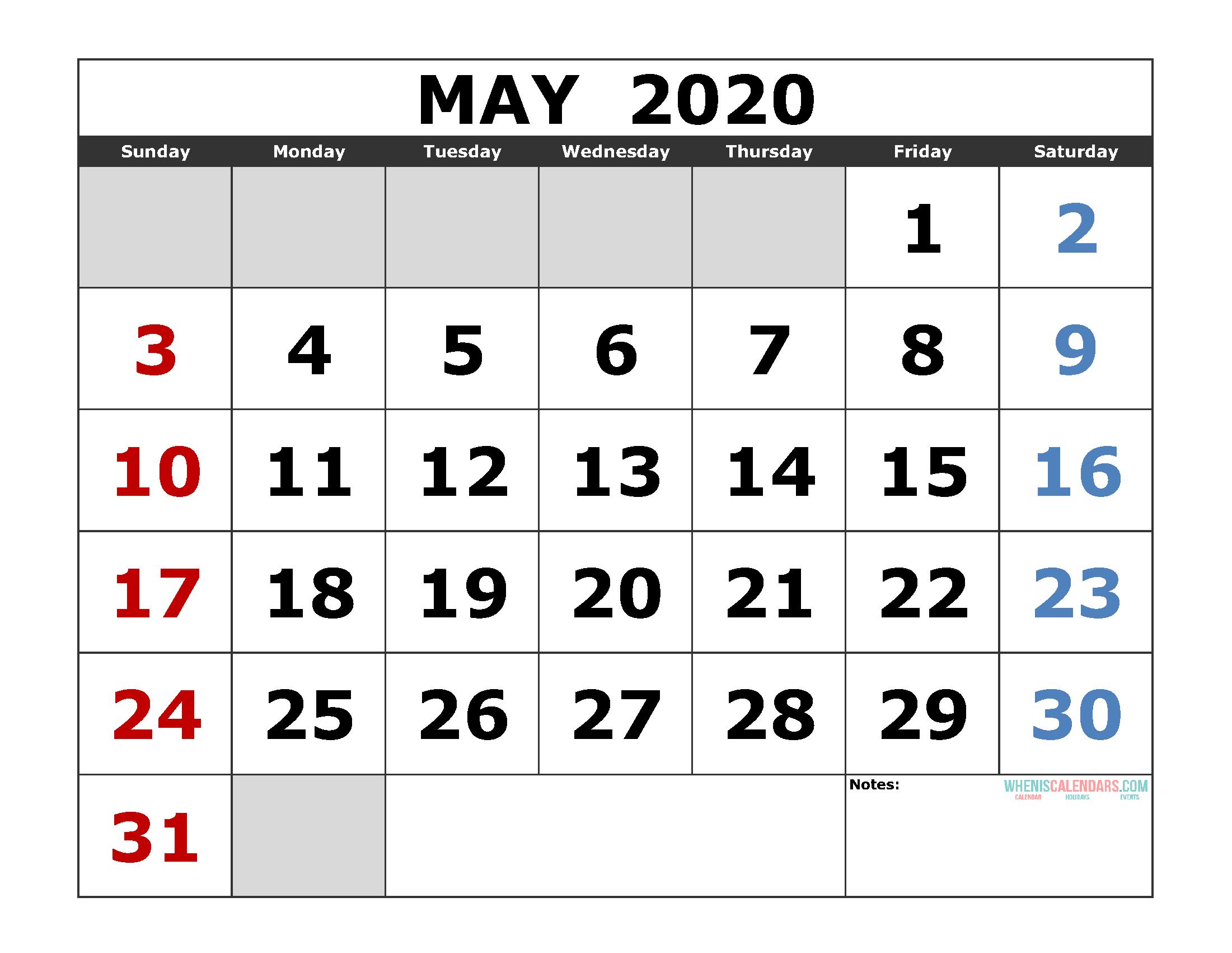 May 2020 Free Printable Calendar