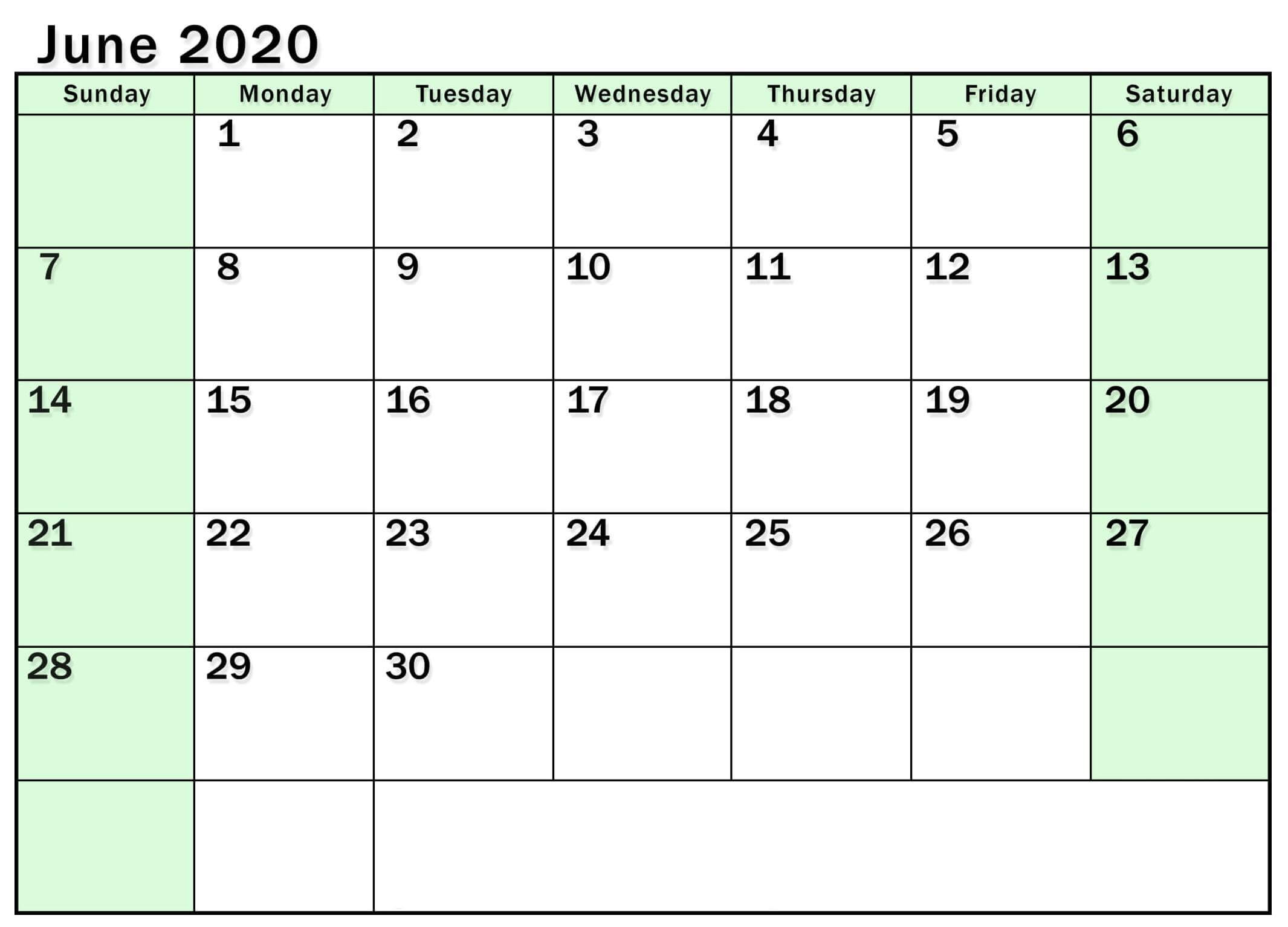 Editable Calendar June 2020 Template
