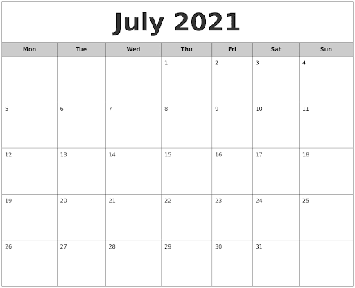 July 2021 Free Monthly Calendar