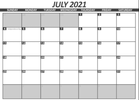 July Calendar 2021 Printable PDF