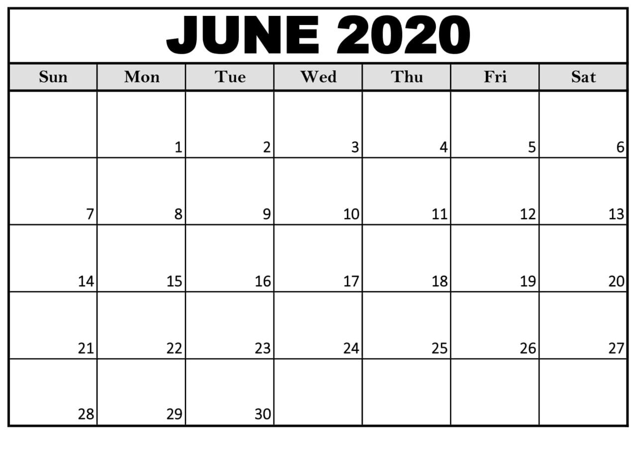 June 2020 Calendar Free Printable