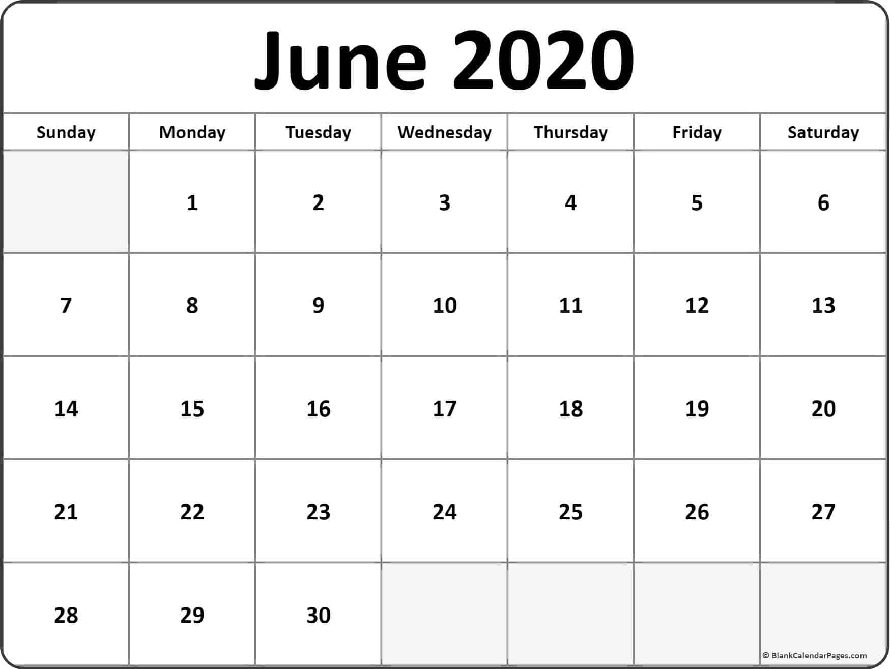 Printable June Calendar 2020 blank templates